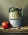 Enamel Mugs & Apple  (oil on board 30 x 35cm framed) £820 plus delivery by Rob Ritchie