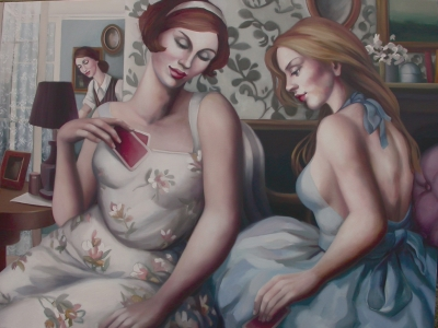 The Card Players Oil on Canvas 220cm x 90 cm Sold by Rachel Deacon
