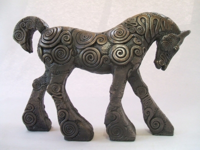 Coils Striding Mare (edition 22 of 25) bronze resin 39 x 27 x 9cm) £350 plus delivery by April Young