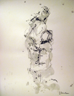 Embrace  (pen & ink) mounted £350 framed £450 plus delivery by Beth Richardson (Drawings)