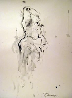 Naked (pen & ink) mounted £350 framed £450 plus delivery by Beth Richardson (Drawings)