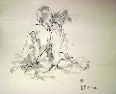 Sitting  (pen & ink) mounted £350 framed £450 plus delivery by Beth Richardson (Drawings)