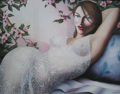 Woman Reclining In Lace (oil on canvas 104 x 84 framed) £1850 plus delivery by Rachel Deacon