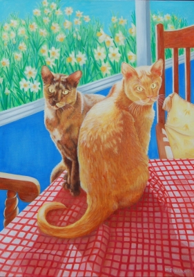 Cats (oil on canvas 54 x 74cm framed ) £425 plus delivery by Jenny Williams