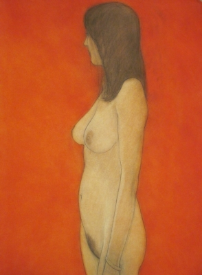 Emma standing (conte & pastel) £1200 plus delivery by Brian Addison