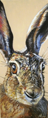 Hare (acrylic on canvas 25 x 60cm unframed) Sold by Alice Arnold