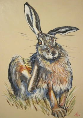 Hare In The Stubble (acrylic on canvas unframed 50 x 70cm) £400 plus delivery by Alice Arnold