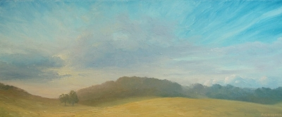 Evening Sun Wormsley (oil on board unframed 76 x 30cm) £350 plus delivery by Andrew Grisman