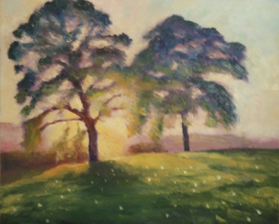 Trees at Sunset (oil on board unframed 50 x 50cm) £350 plus delivery by Andrew Grisman