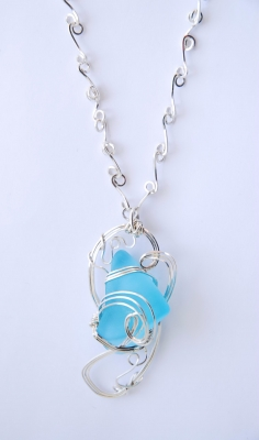 Bombay Sapphire Sea Glass Swirly Necklace by Rebecca Smith