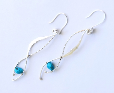 Long Turquoise Twisted Serpent Earrings, £31