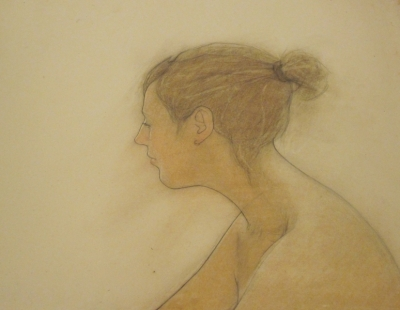 Woman, profile (pastel & black chalk framed 88 x 68cm) £950 plus delivery