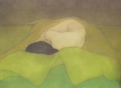 Asleep; black, red and green SOLD by Brian Addison