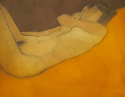 Deb, reclining (pastel & black chalk framed 96 x 90cm) £1050 plus delivery by Brian Addison