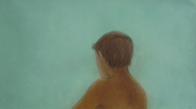 Gillian, soft green (pastel & black chalk framed 110 x 56cm) £995 plus delivery