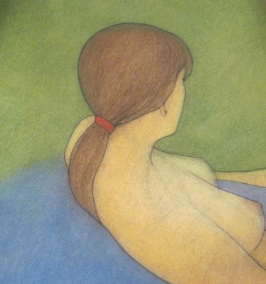 Woman with red, on green and blue (pastel & black chalk framed 65 x 65cm) £450 plus delivery