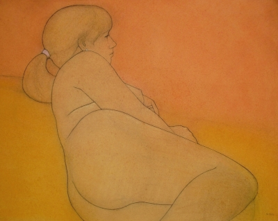 Woman reclining, terracotta and ochre (pastel & black chalk framed 90 x 75cm) £875 plus delivery by Brian Addison