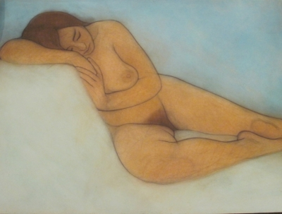 Woman resting, on turquoise (pastel & black chalk framed 120 x 90cm) £1400 plus delivery by Brian Addison