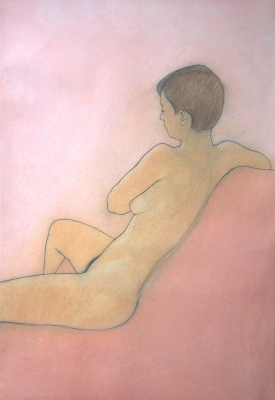 Alex, seated, pink  (pastel & black chalk framed 85 x 114cm) £1250 plus delivery by Brian Addison