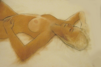 Louise reclining, study (pastel & black chalk framed 120 x 90cm) £1250 plus delivery