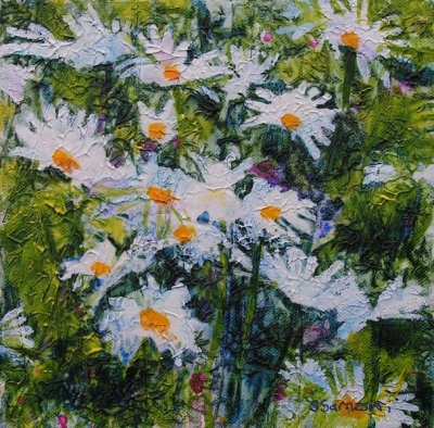 Daisies (20 x 20cm acrylic on canvas ) £120 Plus delivery by Sally Sarneski