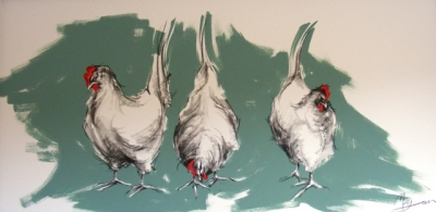 Chickens (charcoal and acrylic 100 x 50cm unframed) £450 plus delivery by Maria Morgan