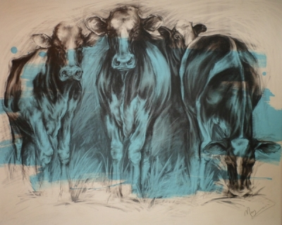 Grazing (charcoal and acrylic 102 x 82cm framed) £600 plus delivery by Maria Morgan