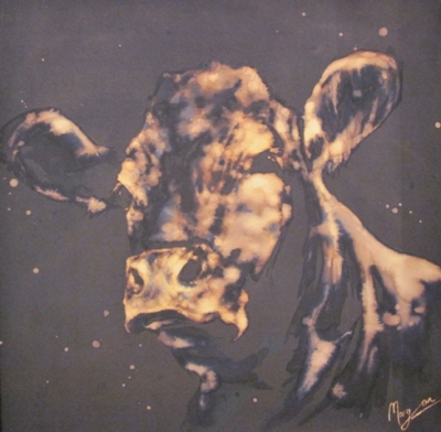 Limousin (ink and bleach 52 x 52cm framed) £450 plus delivery by Maria Morgan