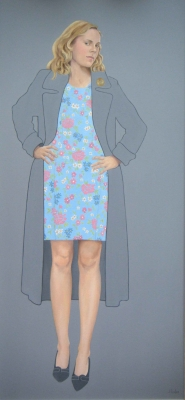 The Grey Overcoat  (oil on canvas framed 56 x 122cm) £1500 plus delivery by Jane Eccles
