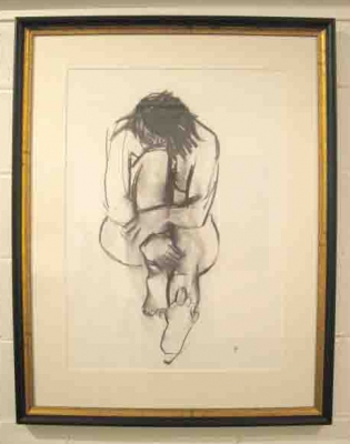 Nude (charcoal on paper framed 88 x 110cm)  £550 plus delivery by Anthea Stilwell