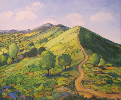 Early Summer on the Malverns  (oil and ink on canvas framed 74 x 64cm) SOLD by Vivien Bromley (1939-2015)
