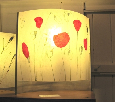 Table Lamp (polycarbonate, chinese paper and steel) £120 plus delivery by Colin Chetwood
