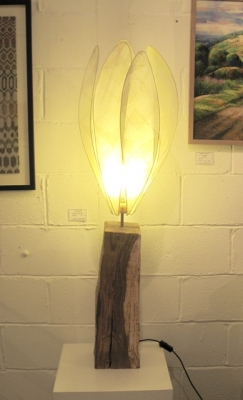 Medium Crocus Lamp  (tall oak base, crocus kozo shade) £240 plus delivery by Colin Chetwood