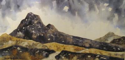 29a50a71b Beneath the Skirid Mountain (textured watercolour on watercolour paper  framed 92 x 58) £
