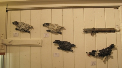 Wallmounted Sheepdog Herding Sheep set (original raku ceramic) £400 plus delivery by Phil Hayes