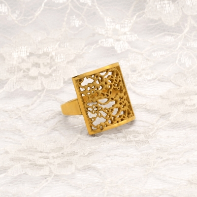 Gold Plated Silver Lace Square Ring  NS01S £76 by Natalie Salisbury