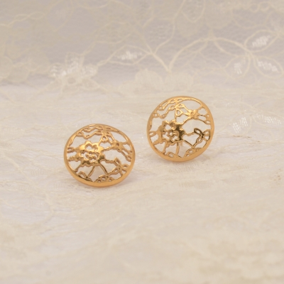 Gold Plated Silver Lace Round Studs NS04C £82 by