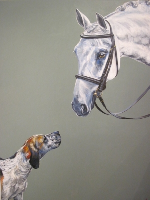 The Meet (acryylic on canvas 120 x 150cm unframed) £1100 plus p&p 2 by Alice Arnold