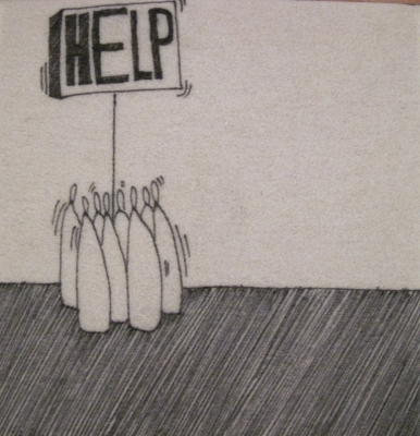 Help (group) (ink on fibre 12 x 12 cm) £25 plus delivery by David Shears