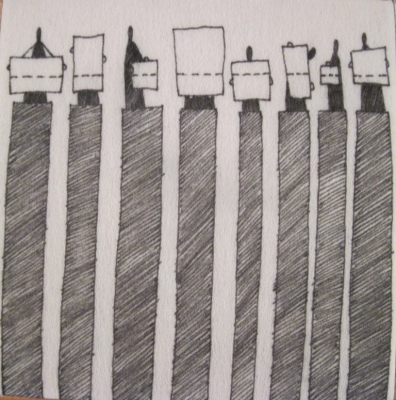Line-Out (ink on fibre 12 x12cm) £25 plus delivery