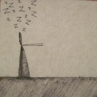 Sleep Walker (ink on fibre 12 x 12 cm) £25 plus delivery