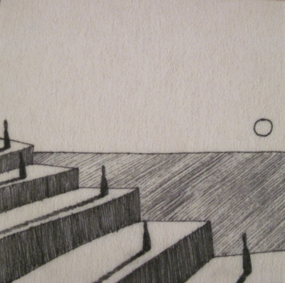 The Steps (ink on fibre 12 x 12cm) £25 plus delivery by David Shears
