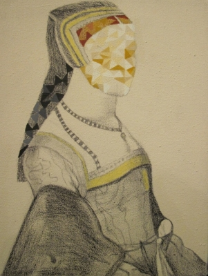 Record of a Lady II; after Holbein (pencil & oil on Canvas framed 28 x 35cm) £450 plus delivery by Pia Dowse