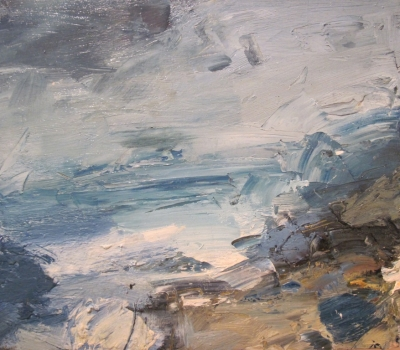 Cove, Stormy Sky (oil on board framed 36 x 32cm) £850.00 plus delivery