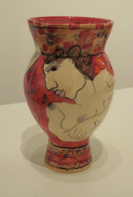 Small Vase red (hand decorated eartenware 18cm tall)  Sold by Karen Atherley