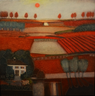 When The Red Sun Sets (73 x 73cm, oil on canvas) £1350 Plus delivery by Rob Van Hoek
