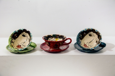 Cups and Saucers (hand decorated, glazed earthenware) £36 each, Plus delivery by Karen Atherley