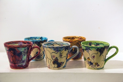 Mugs (hand decorated, glazed earthenware) £30 each, Plus delivery by Karen Atherley