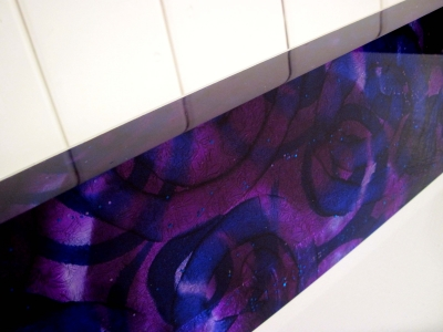 Purple Wall Block, (close up)(silk & acrylic) £190 Plus delivery by Mary Thorpe