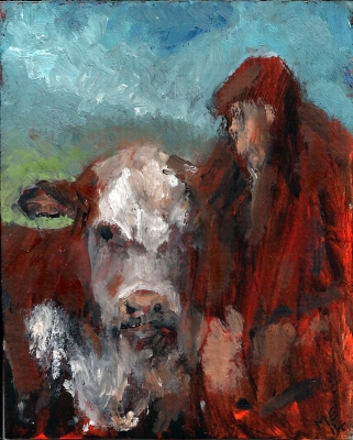 The Pride of Herefordshire (oil on card, 4x5in) SOLD by Mary Edwards